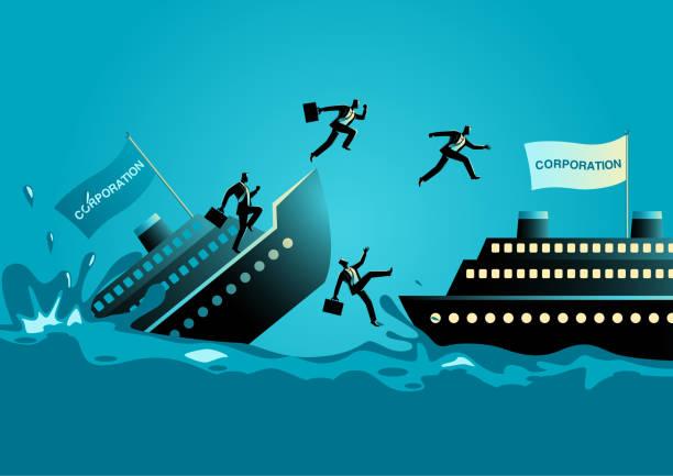 geschäftsleute verlassen des sinkenden schiffes - gesunken stock-grafiken, -clipart, -cartoons und -symbole
