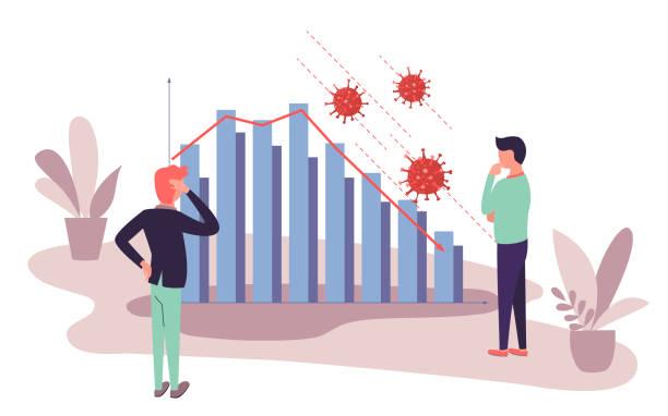 stockillustraties, clipart, cartoons en iconen met zakenlieden analyseren marktdaling opgetreden door coronavirus uitbraak. gegevensgrafiek met dalende trend als gevolg van covid-19 wereldpandemie. quarantaine financiële crisis. - recessie