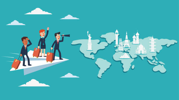 Businessmen and business woman with suitcase on paper plane. Business travel concept vector art illustration