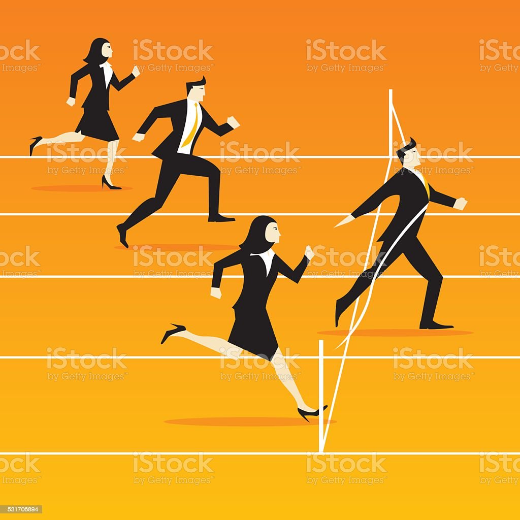 businessmen and businesswomen running race - competition - Illustration vector art illustration