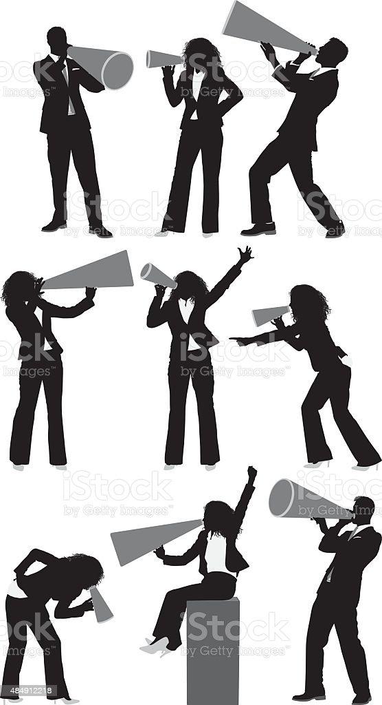 Businessmen and businesswomen with bullhorn vector art illustration