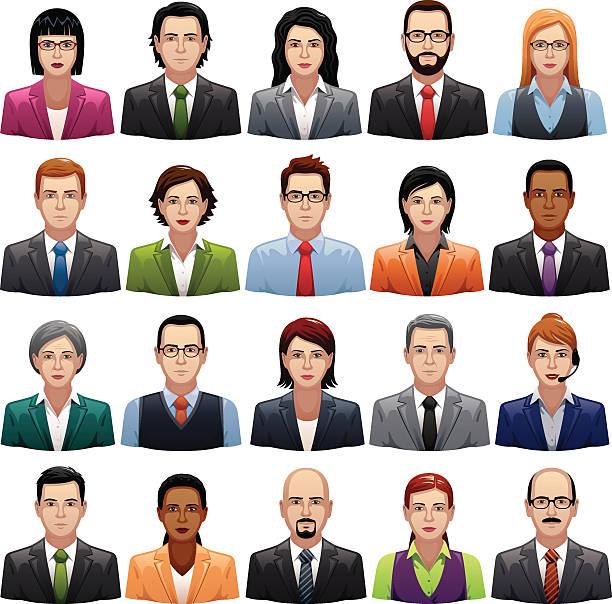 Businessmen and Busineswomen Icons vector art illustration