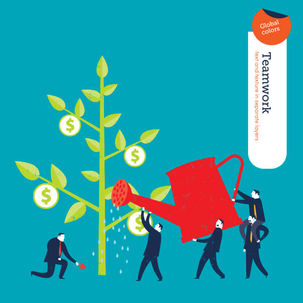 Businessmen and money plant vector art illustration