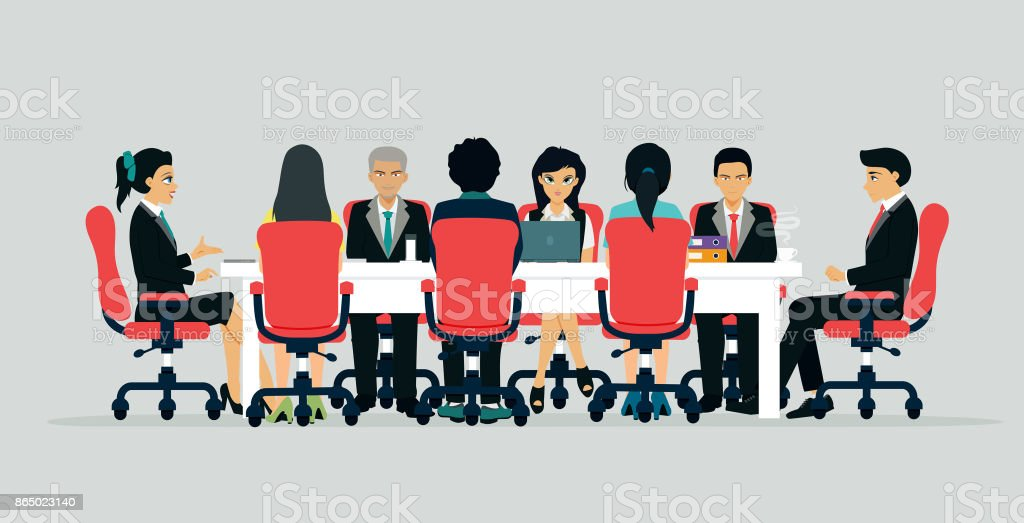 Businessmen are negotiating. vector art illustration