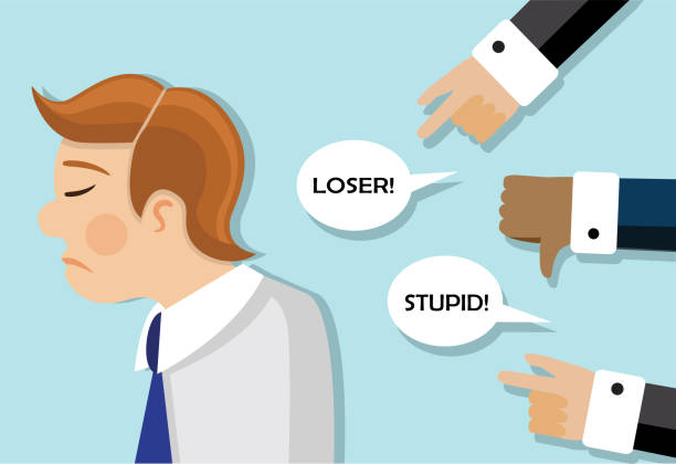 businessmen are scolded and he is sad a businessman stands sad and behind his back they scold and insult him aggression stock illustrations