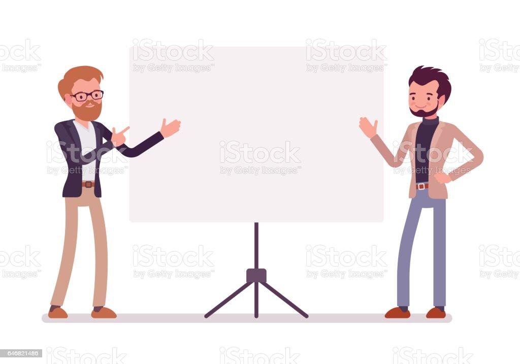 Businessmen at the presentation vector art illustration