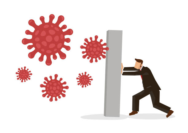 Businessmen blocking away from coronavirus. Concept of coronavirus impact on economy. Businessmen blocking away from coronavirus. Concept of coronavirus impact on economy. Vector illustration. deathly stock illustrations