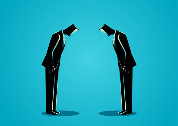 Businessmen bowing to each other vector art illustration
