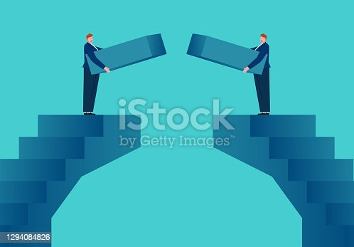 Businessmen building bridges connecting each other, concept illustration of business cooperation
