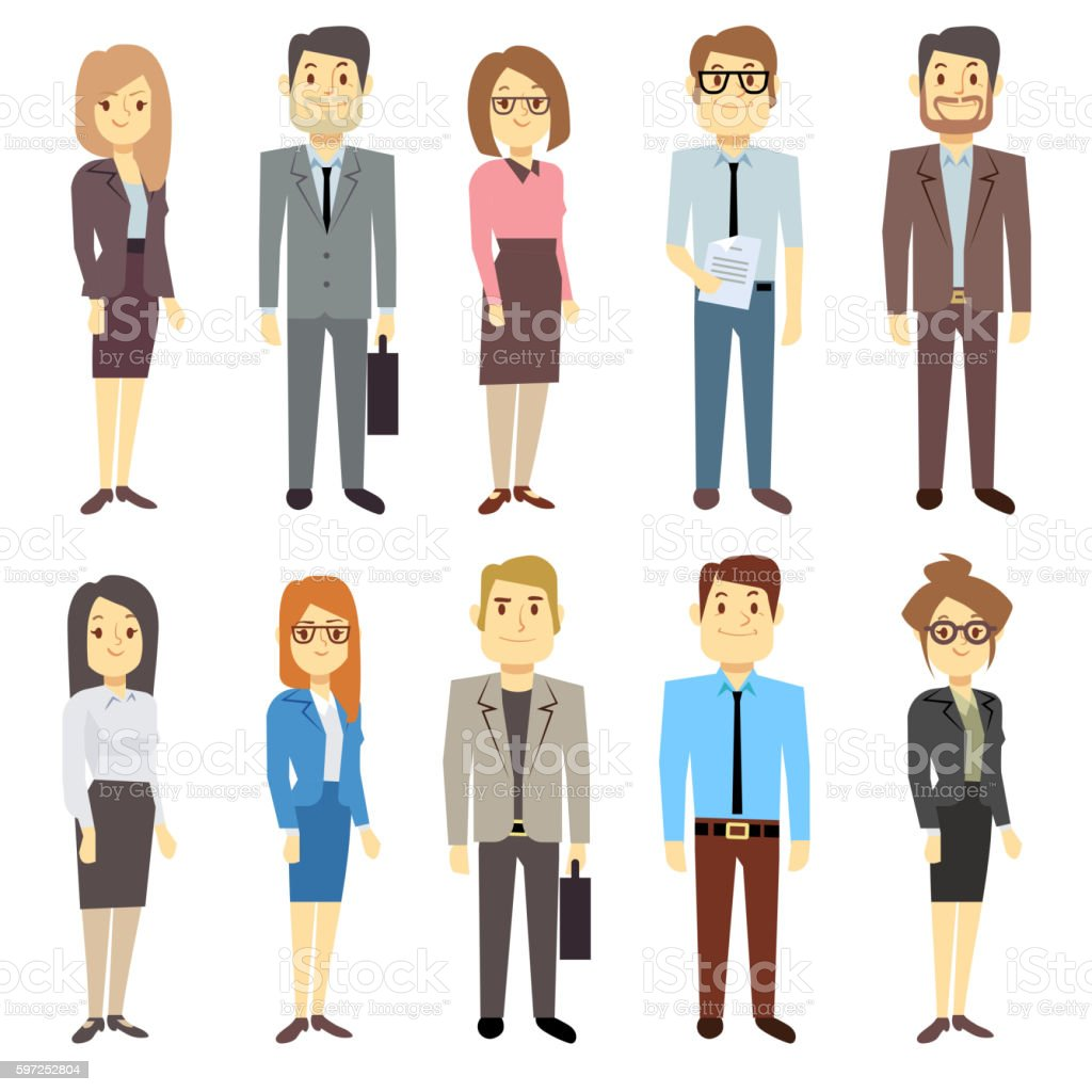 Businessmen businesswomen employee vector people characters various business outfits - ilustración de arte vectorial
