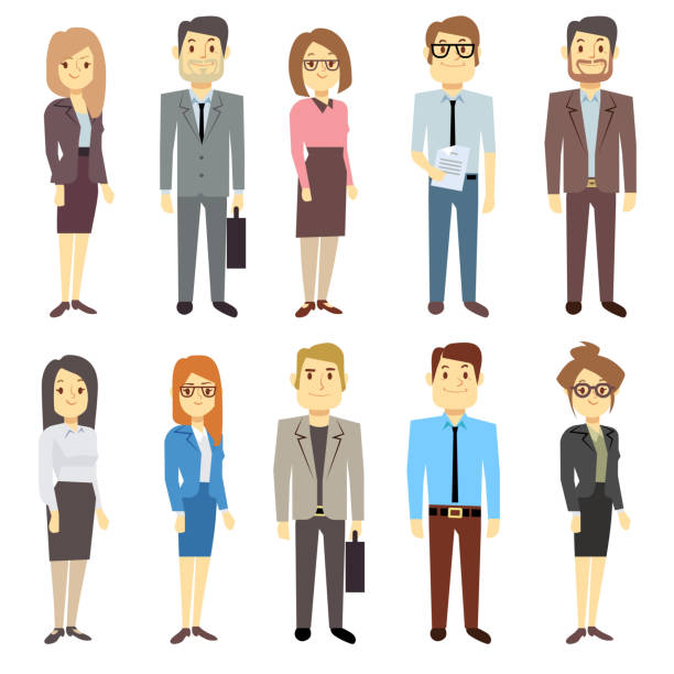 businessmen businesswomen employee vector people characters various business outfits - businessman stock illustrations, clip art, cartoons, & icons