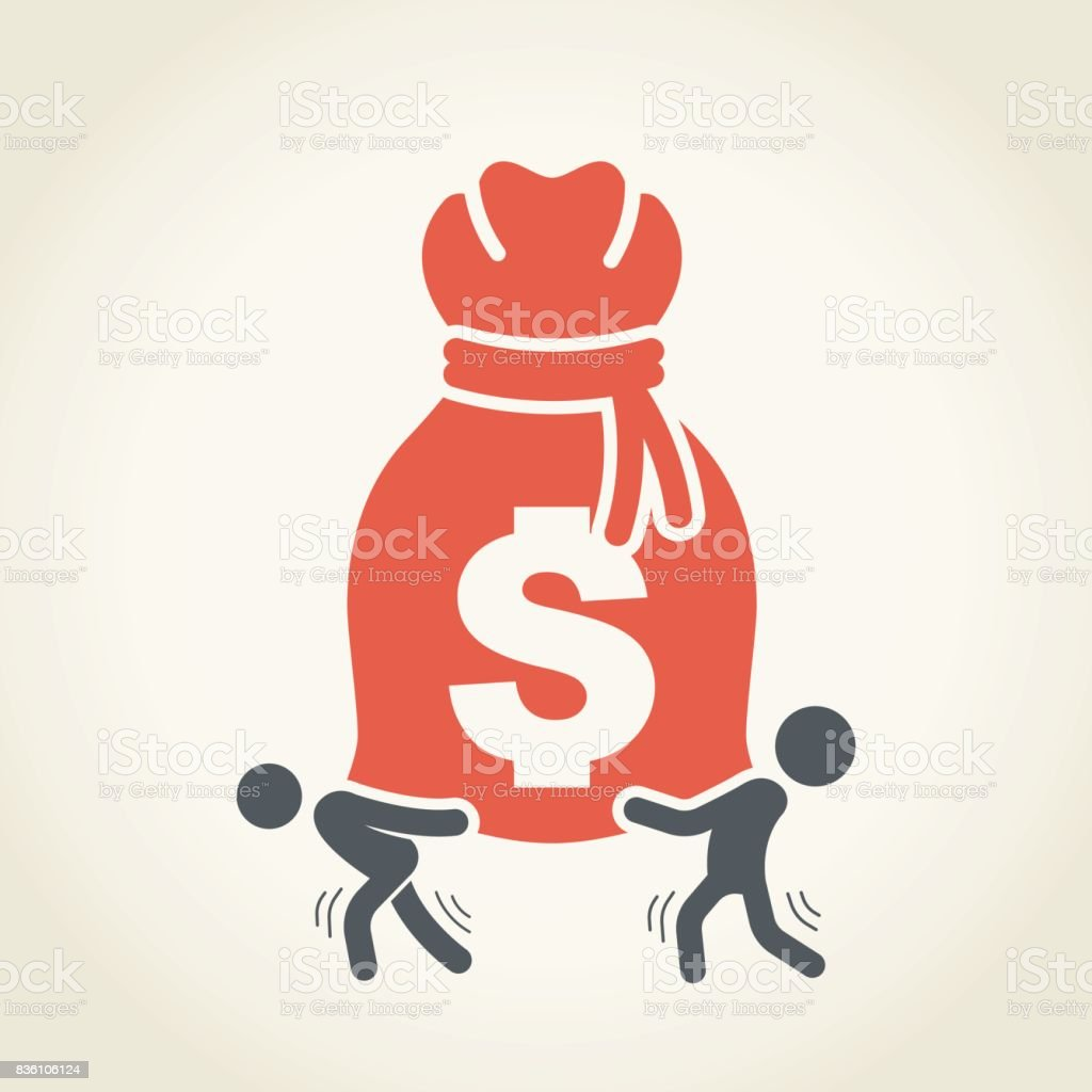 Businessmen Carrying Large Money Bag vector art illustration