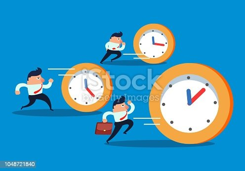 Businessmen chasing clock