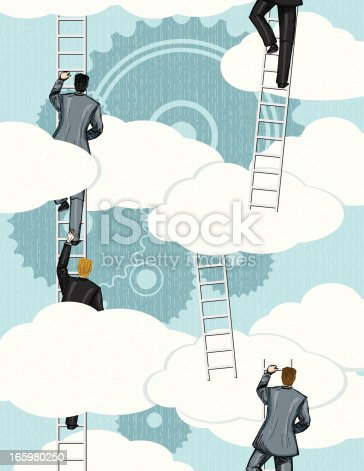 Retro style businessmen Climbing Ladder To The Clouds With Gears.