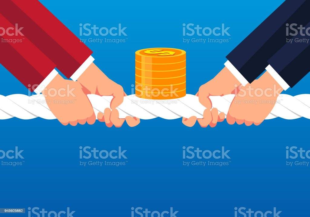 Businessmen compete for gold coins vector art illustration