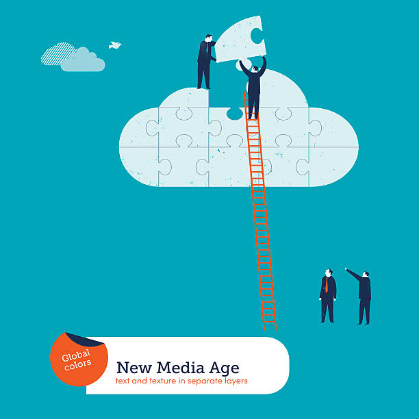 Businessmen completing a cloud puzzle vector art illustration