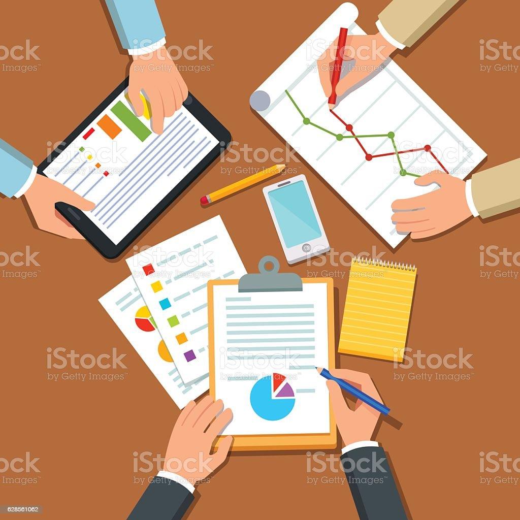 Businessmen discussing business plan vector art illustration