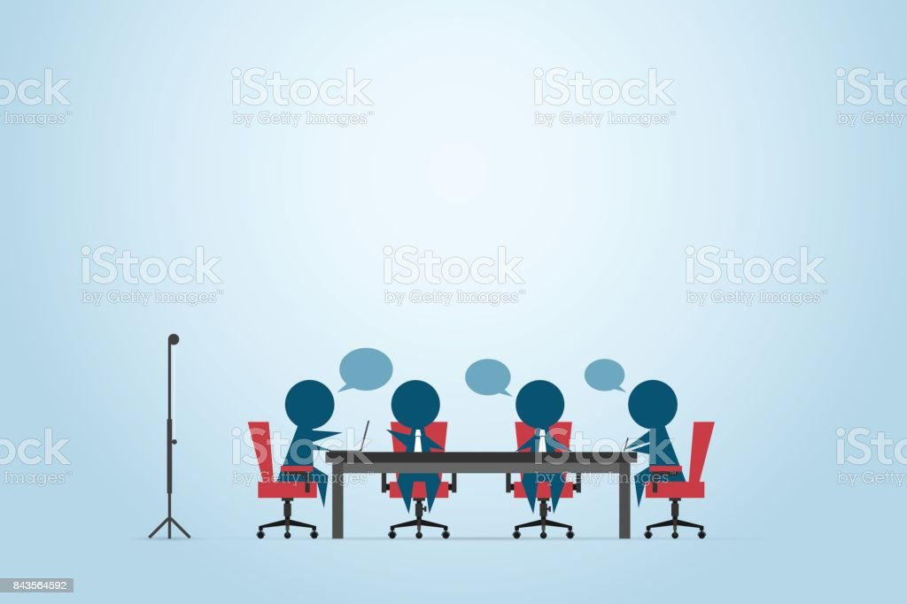 businessmen discussing project on the table with speech bubbles, conference and business concept vector art illustration