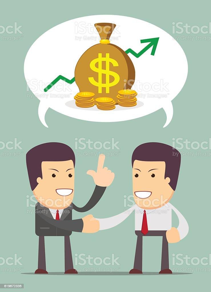 Businessmen Discussion about profit vector art illustration