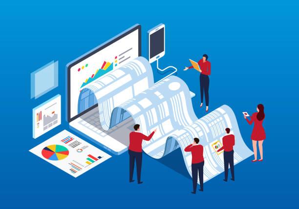 Businessmen doing data report and analysis vector art illustration