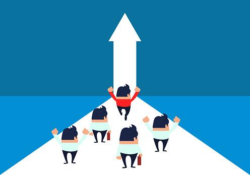 Ondernemers Enthousiast Te Lopen In De Deur Van Succes Stockvectorkunst en meer beelden van Aspiraties