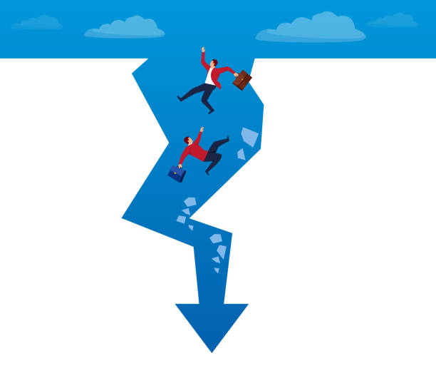 Businessmen fall to the bottom of the arrow Businessmen fall to the bottom of the arrow cliff stock illustrations