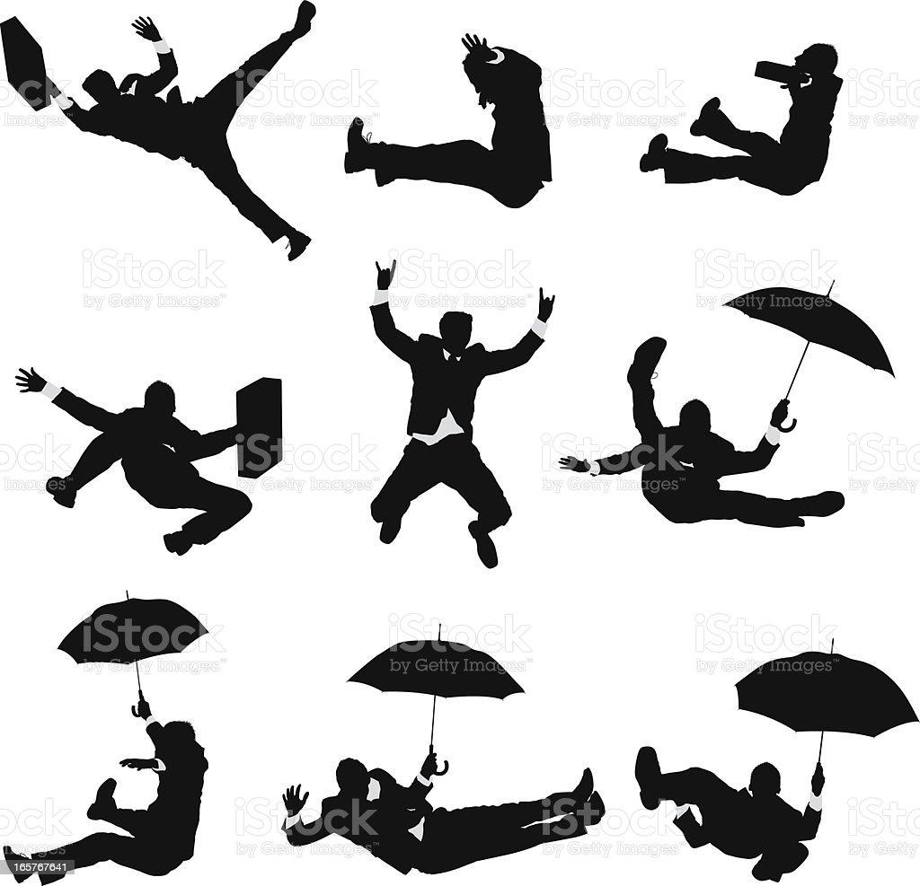Businessmen falling through the air vector art illustration