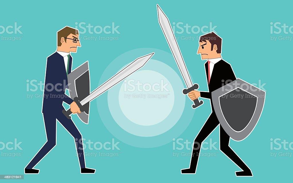 Businessmen fighting royalty-free stock vector art