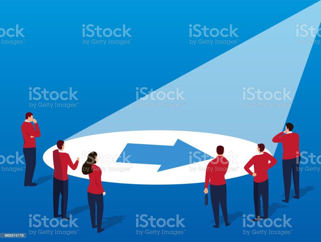 Businessmen find arrows under light businessmen find arrows under light - stockowe grafiki wektorowe i więcej obrazów aspiracje royalty-free