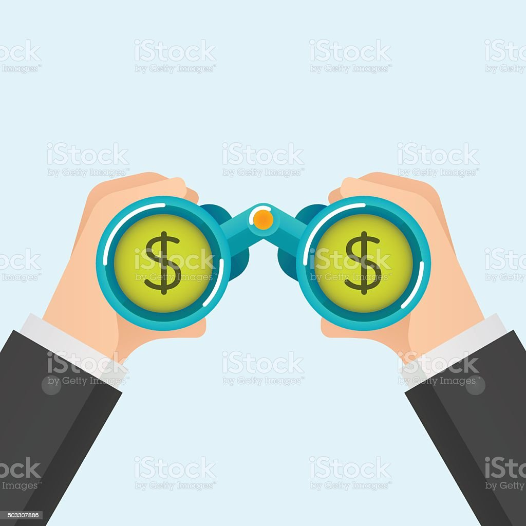 Businessmen find money, vector illustration vector art illustration