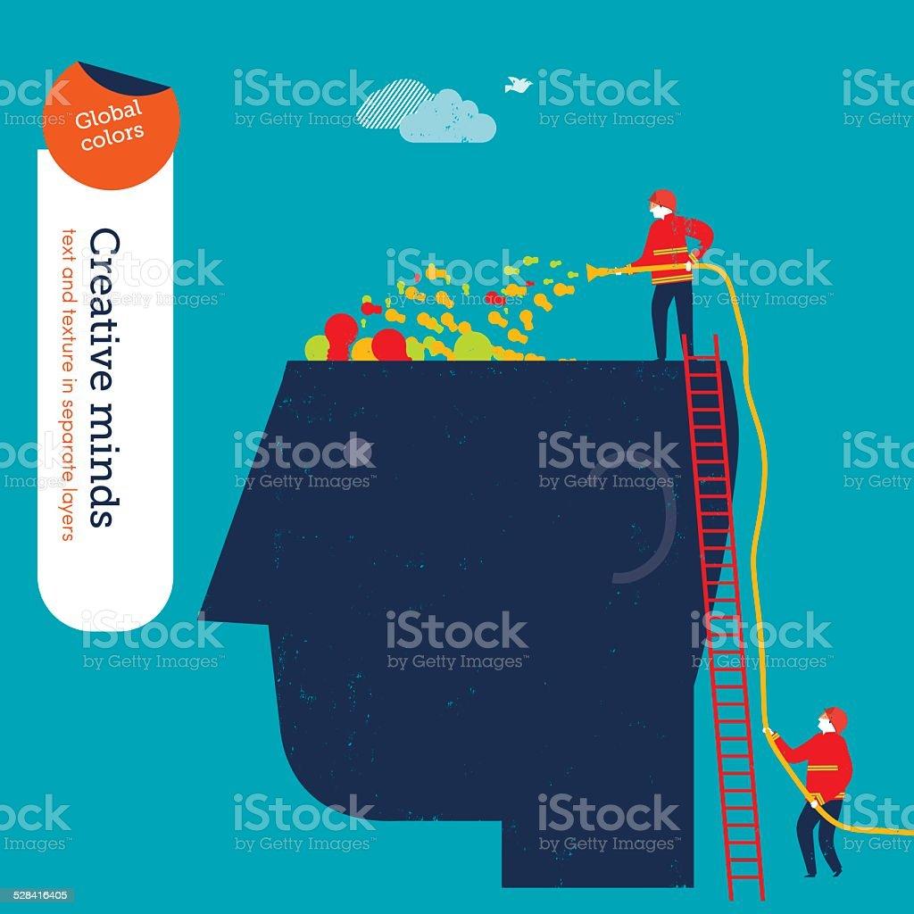 Empresarios bomberos llenar un vacío con lámparas de - ilustración de arte vectorial