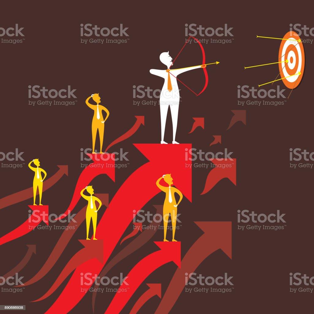 businessmen focus target vector art illustration