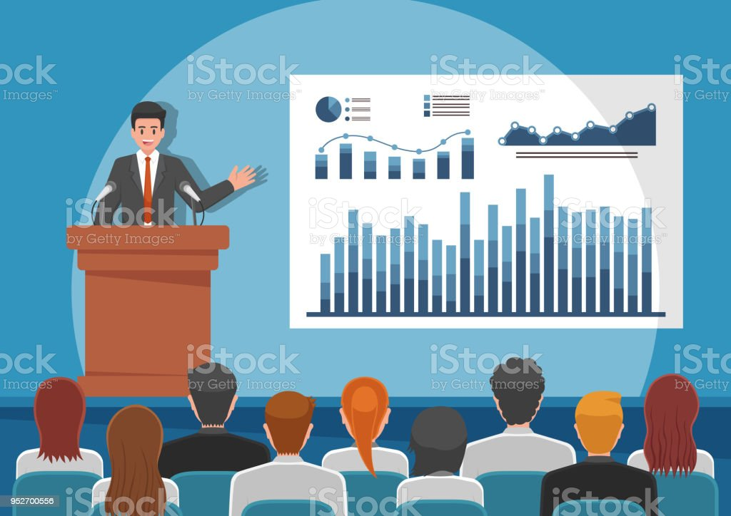 Businessmen giving speech or presenting charts on a whiteboard vector art illustration
