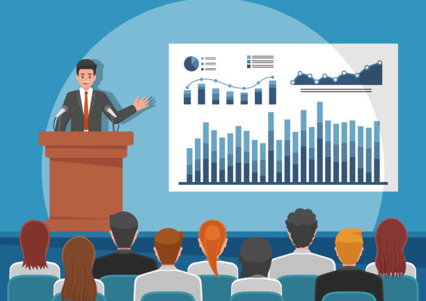 businessmen giving speech or presenting charts on a whiteboard - language class stock illustrations