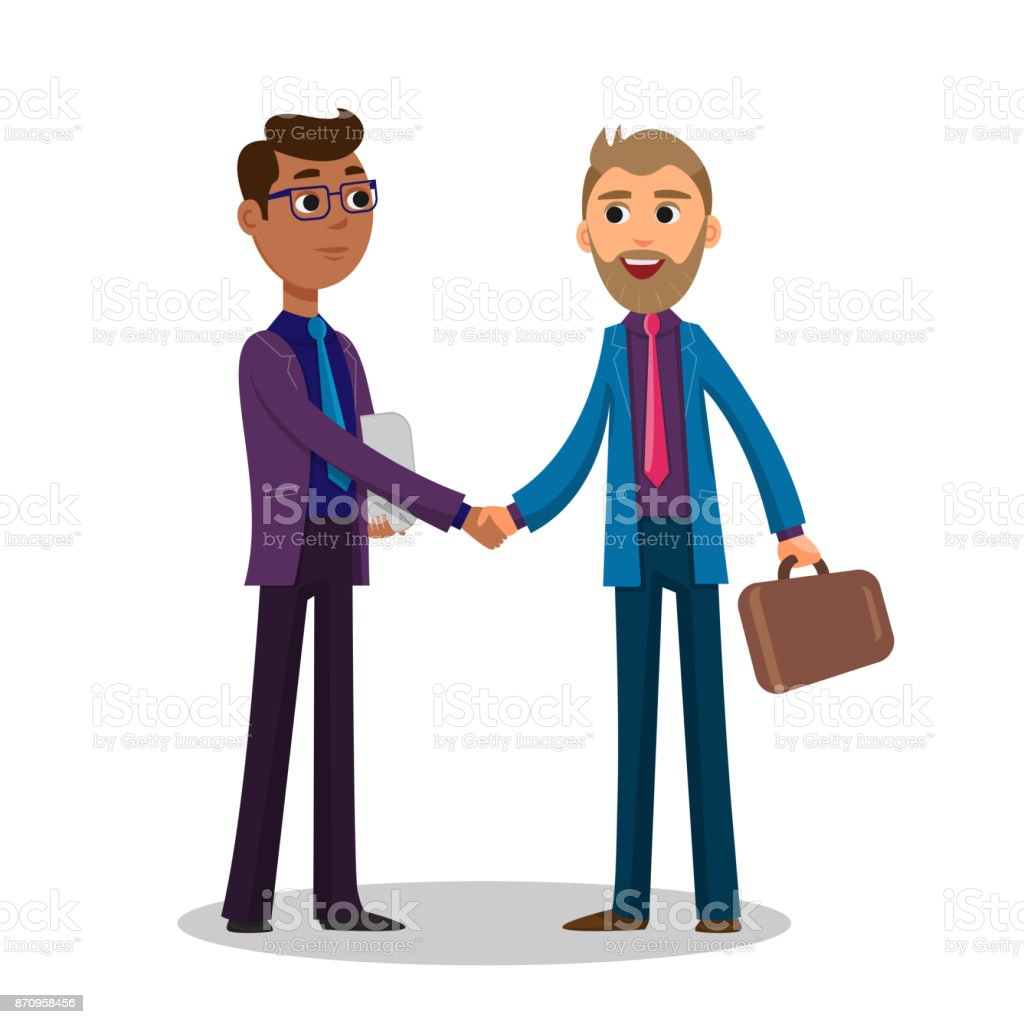 Businessmen greet each other by shaking hands when meeting to negotiate a deal  before signing a contact vector art illustration