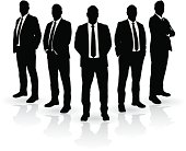 Vector Silhouette Businessmen Group - eps 10 with blends