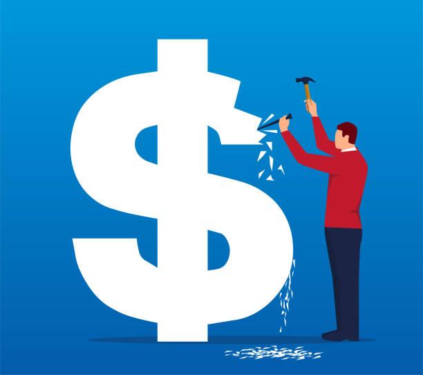 illustrations, cliparts, dessins animés et icônes de hommes d'affaires marteau le dollar avec un marteau - inflation