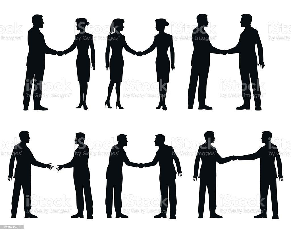 Businessmen handshake silhouettes vector art illustration