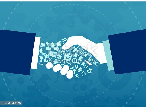 Vector illustration of a businessmen handshake with elements and icons of finance and corporate life tools