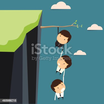 Businessman in business risks jointly. Vector illustration.