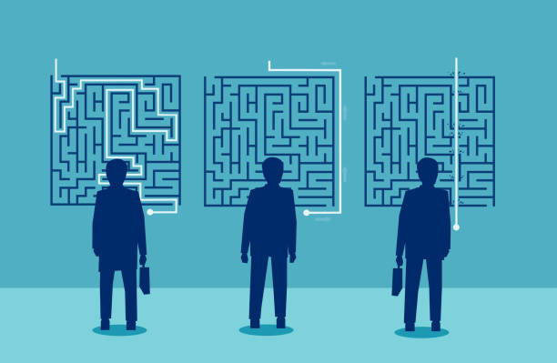 businessmen have a different solution for a challenging labyrinth Group of businessmen have a different solution for a challenging labyrinth escaping stock illustrations