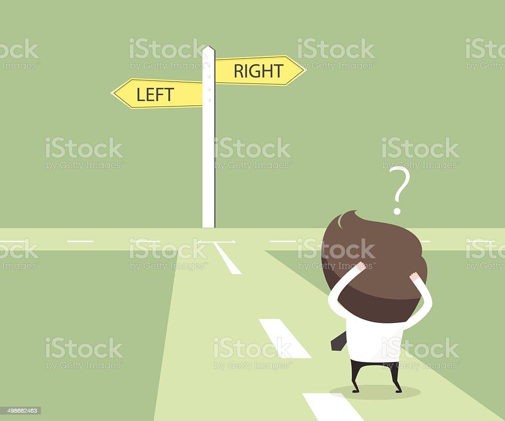 Businessmen hesitate to choose path. decision concept. vector art illustration
