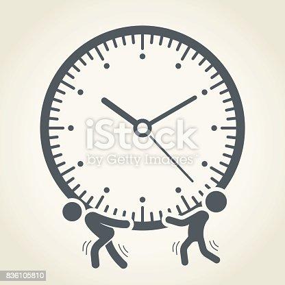 Businessmen holding a clock, vector illustration.