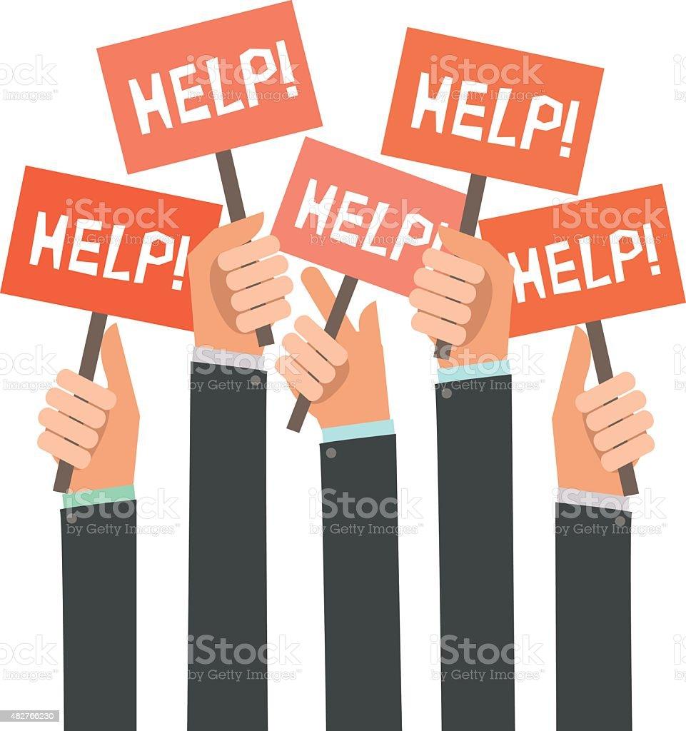 Businessmen holding orange signboards with the word HELP vector art illustration