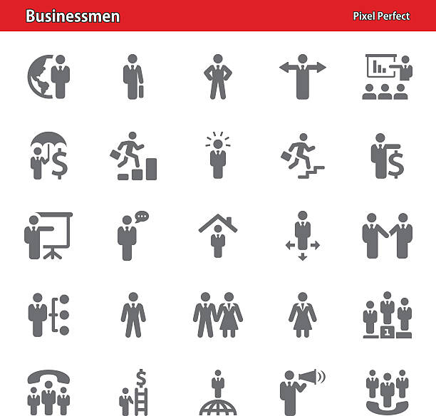 ilustraciones, imágenes clip art, dibujos animados e iconos de stock de empresarios iconos-juego 4 - corredor de bolsa