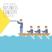 Illustration vector businessmen in a boat with telescope flat style.