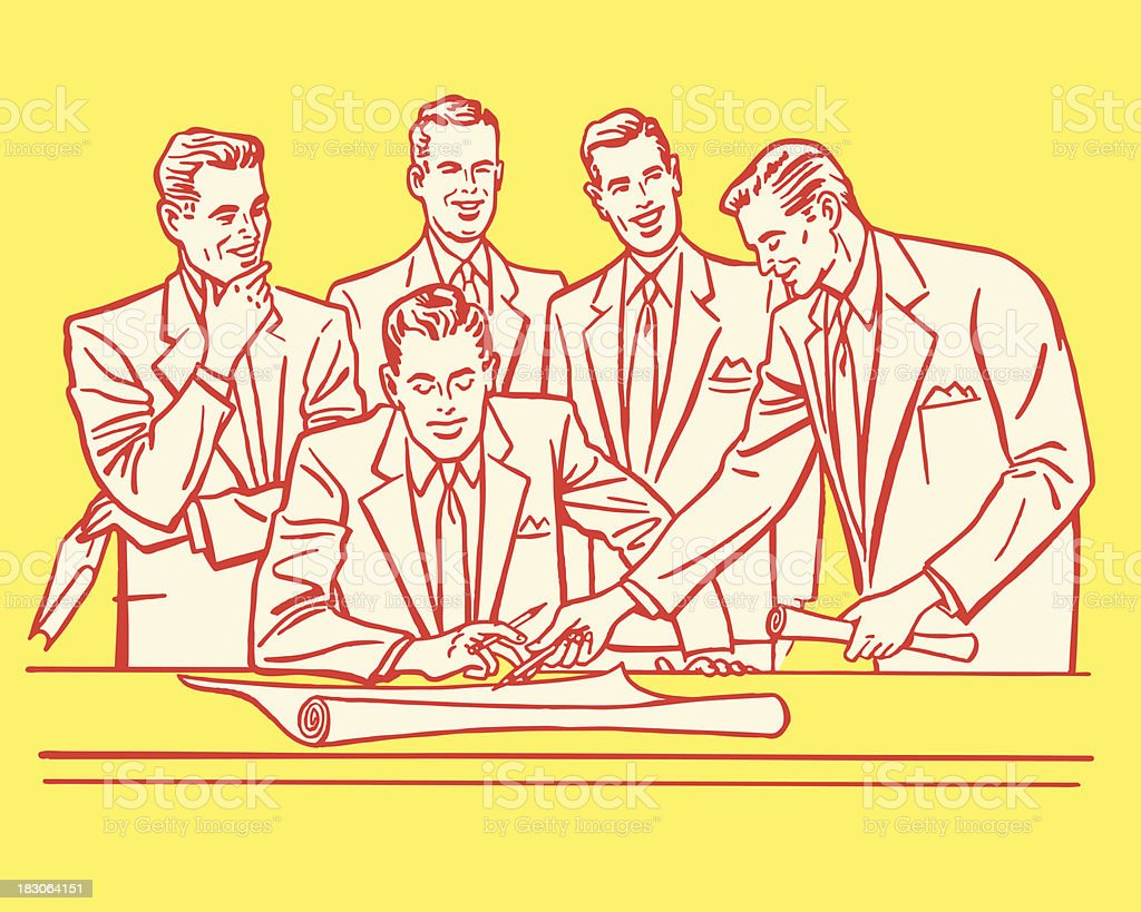 Businessmen in a Meeting vector art illustration