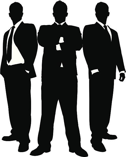Businessmen in Black Series This set could be used as a body guard scene, business team scene, etc. This silhouette set contains 3 unique silhouettes that can be used individually or all together. This download contains an editable EPS file, as well as a large JPG file. suit stock illustrations