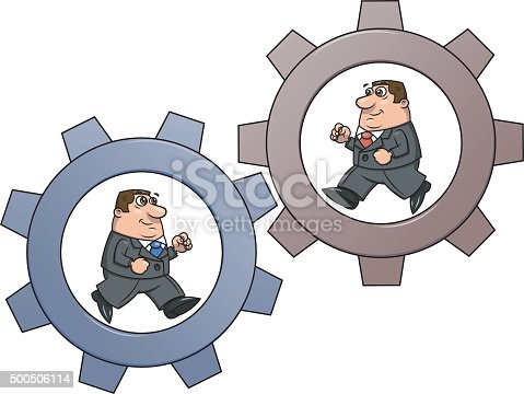 Two businessmen is running in the cogwheel machine