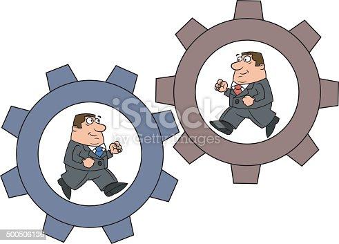 Two businessmen is running in the cogwheel machine